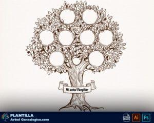 plantilla retro arbol genealogico editable