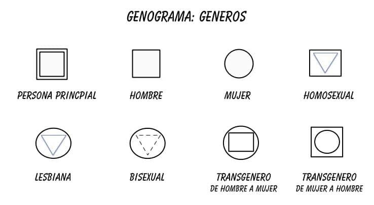 Genograma símbolos genero hombre, mujer, homosexual, lesbiana, transgénero
